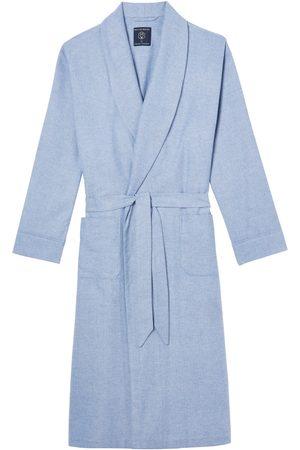 Men Boxer Shorts - Organic Blue Cotton Men's Staffordshire Herringbone Brushed Dressing Gown Large British Boxers