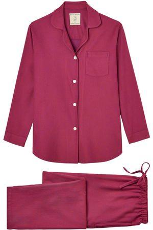 Women Pajamas - Organic Red Cotton Women's Rioja Herringbone Brushed Pyjama Set Medium British Boxers