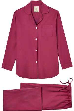 Women Pajamas - Organic Red Cotton Women's Rioja Herringbone Brushed Pyjama Set Small British Boxers