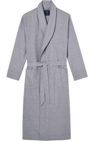 Men Boxer Shorts - Organic Grey Cotton Men's Ash Herringbone Brushed Dressing Gown Large British Boxers