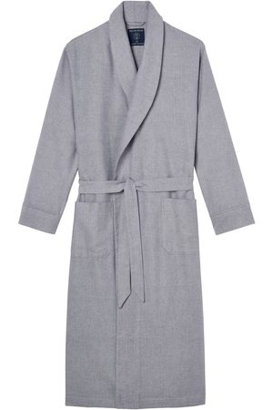 Men Boxer Shorts - Organic Grey Cotton Men's Ash Herringbone Brushed Dressing Gown XXL British Boxers