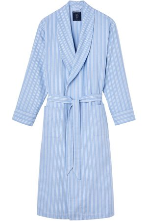Organic Blue Cotton Men's Westwood Stripe Brushed Dressing Gown Large British Boxers