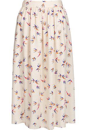 Women Printed Skirts - Women's Beige Cotton Bird Print Midi Skirt XXS MartinaVogue