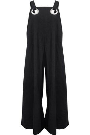 Women's Artisanal Black Cotton Linen Jumpsuit With Silver Eyelets Large keegan