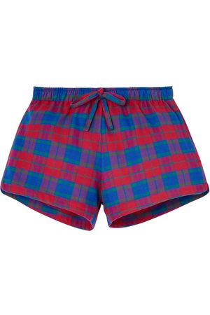 Organic Red Cotton Women's Bordeaux Brushed Pyjama Shorts XXL British Boxers