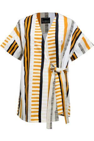 Women Wrap tops - Women's Artisanal Black Cotton Printed Yellow White & Striped Wrap Tie Top keegan