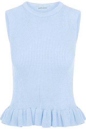Women's Artisanal Blue Baby Knit Top Medium kith & kin