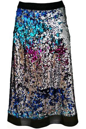 Women's Artisanal Double-Sided Sequin-Embellished A-Line Midi Skirt Large Lalipop Design