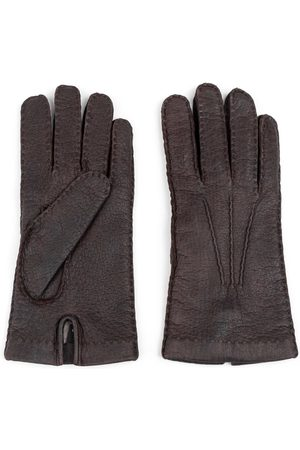 Men's Carbon Neutral Brown Cashmere Handmade Peccary Leather Gloves Adriano 8in Dalgado