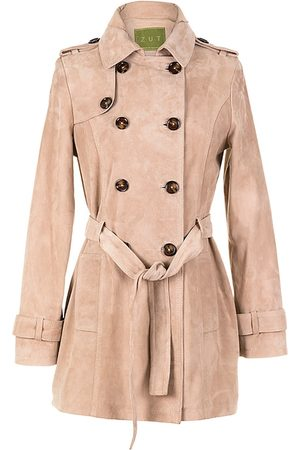 Women's Artisanal Natural Leather Suede Short Trench Coat - Beige Large ZUT London