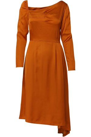 Women Asymmetrical Dresses - Women's Artisanal Orange Flutter Asymmetric Dress With Front Pleats Small DALB