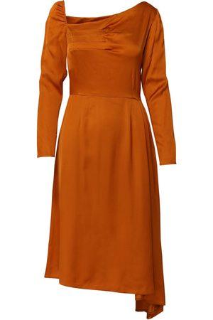 Women's Artisanal Orange Flutter Asymmetric Dress With Front Pleats Medium DALB