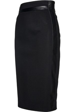 Women's Artisanal Black Cotton Pencil Skirt With Leather Detail Small Conquista
