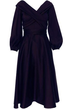 Women Strapless Dresses - Women's Purple Cotton Wrap Around Dress With Off The Shoulder Neckline Small BLUZAT