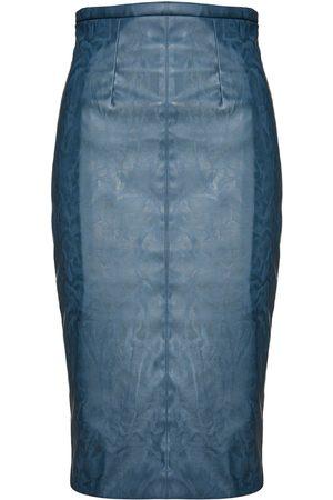 Women's Artisanal Blue Leather Faux High Waist Pencil Skirt Small Conquista