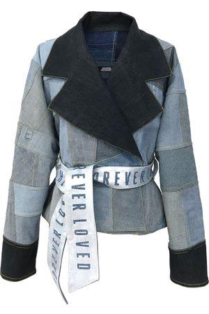 Women Denim Jackets - Women's Artisanal Silver Forever Loved Patchwork Denim Jacket - Reversible Large Manon Planche