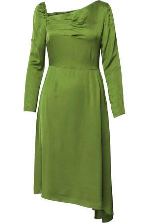 Women Asymmetrical Dresses - Women's Artisanal Green Flutter Asymmetric Pesto Dress With Front Pleats Medium DALB