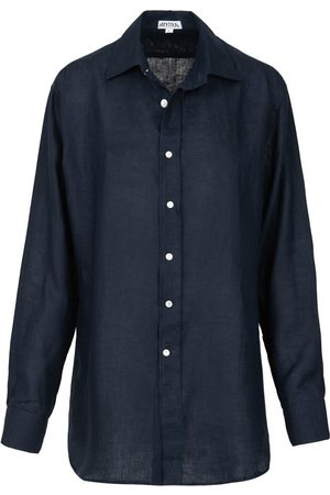 Artisanal Navy Linen Mens Classic In Large Antra Designs