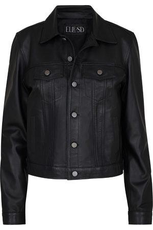 Women Leather Jackets - Women's Black Leather Denim Style Jacket Small ELLE. SD