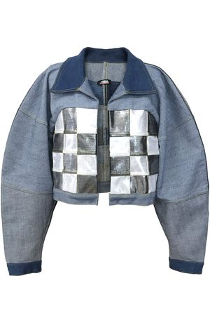 Women Denim Jackets - Women's Artisanal Silver Winning At Life Denim Jacket Medium Manon Planche