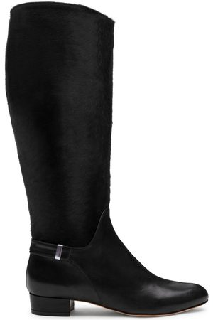 Women's Artisanal Black Leather Gilt Tall Boots Shoes 2 UK Alexis Isabel