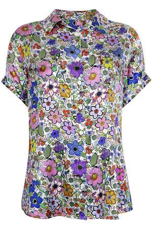 Women Pajamas - Women's Silk Short Sleeve Pyjama Top - Paint By Flora Medium Jessica Russell Flint