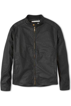 Men Leather Jackets - Men's Non-Toxic Dyes Black Cotton Wax Biker Jacket Large Peregrine