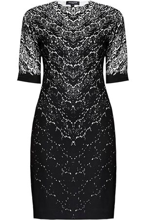 Women's Low-Impact Black Fabric Printed Lace Monochrome Fitted Dress Large Rumour London