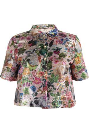 Short sleeves - Women's Artisanal Metallic Silk Short Sleeve Brocade Button Up Shirt XL relax baby be cool
