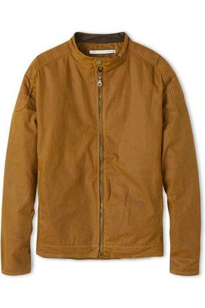 Men Leather Jackets - Men's Non-Toxic Dyes Mustard Cotton Wax Biker Jacket Small Peregrine