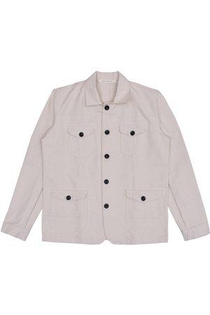 Men Waistcoats - Men's Artisanal White Cotton Sarge Jacket - Natural Canvas Large LaneFortyfive