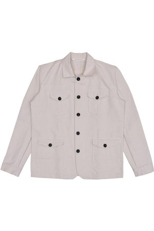 Men Waistcoats - Men's Artisanal White Cotton Sarge Jacket - Natural Canvas Small LaneFortyfive