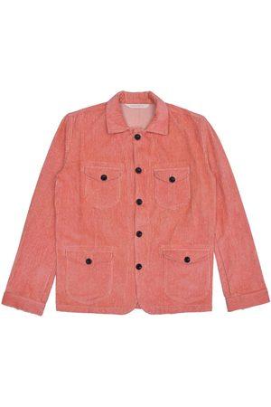 Men Waistcoats - Men's Artisanal Pink Cotton Sarge Jacket - Corduroy Small LaneFortyfive