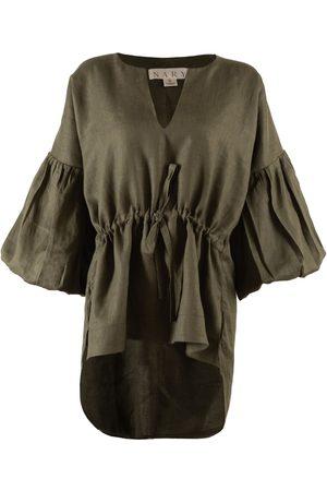 Women Sweats - Women's Artisanal Green Cotton Koh Rong Linen Lounge Top XXL Nary