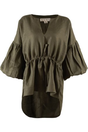 Women's Artisanal Green Cotton Koh Rong Linen Lounge Top XS Nary