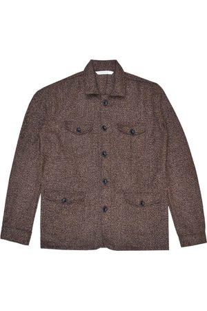 Men Waistcoats - Men's Artisanal Brown Wool Sarge Jacket - French Broucle Tweed XL LaneFortyfive