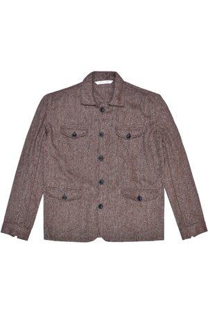 Men Waistcoats - Men's Artisanal Pink/Purple Wool Sarge Jacket - Maroon Herringbone Tweed Large LaneFortyfive