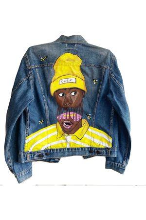 Men's Artisanal Blue Hand Painted Save The Bee's Levis Denim Jacket Large Quillattire