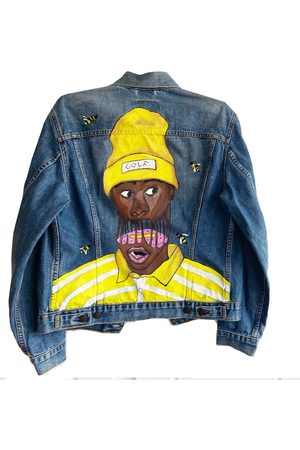 Men's Artisanal Blue Hand Painted Save The Bee's Levis Denim Jacket XL Quillattire