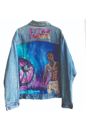 Men's Artisanal Blue Astronomical Hand Painted Levis Denim Jacket Medium Quillattire