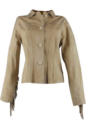 Women Leather Jackets - Women's Artisanal Natural Leather Fringed & Studded Suede Fitted Jacket Beige Large ZUT London