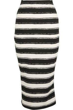 Women Pencil Skirts - Women's Artisanal Black Fabric Zero Stripe Pencil Skirt XS Jennafer Grace