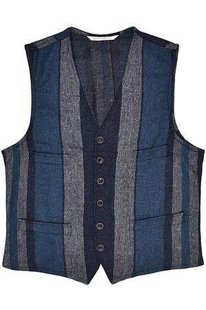 Men Waistcoats - Men's Artisanal Blue Wool Cobbler Waistcoat - Multi-Stripe Tweed Large LaneFortyfive