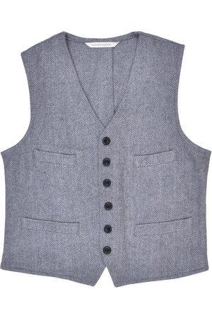 Men's Artisanal Grey Wool Cobbler Waistcoat - Herringbone Tweed Small LaneFortyfive
