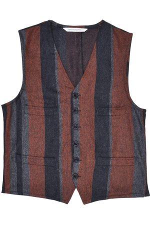 Men Waistcoats - Men's Artisanal Orange Wool Cobbler Waistcoat - Multi-Stripe Tweed XL LaneFortyfive