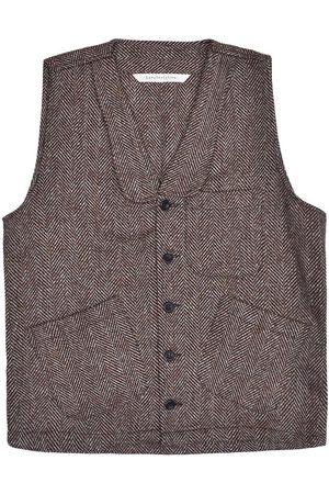 Men's Artisanal Pink/Purple Wool Sven Waistcoat - Maroon Herringbone Tweed XL LaneFortyfive
