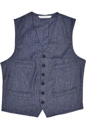 Men's Artisanal Blue Wool Cobbler Waistcoat - Herringbone Tweed Large LaneFortyfive
