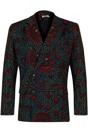 Men's Artisanal Green Cotton Yaw Double Breasted Blazer - Rooster Medium Ohema Ohene