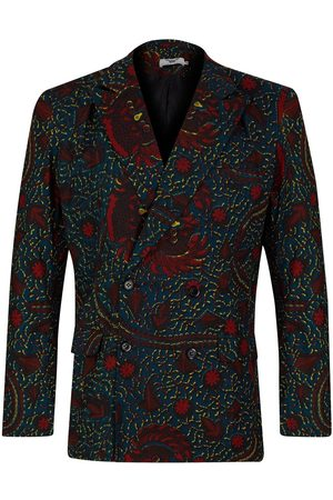 Men's Artisanal Green Cotton Yaw Double Breasted Blazer - Rooster XL Ohema Ohene