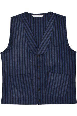 Men Waistcoats - Men's Artisanal Blue Wool Sven Waistcoat - Twin Striped Tweed Large LaneFortyfive